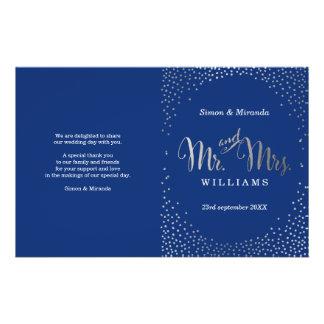 WEDDING CEREMONY PROGRAM mini silver confetti navy Flyer