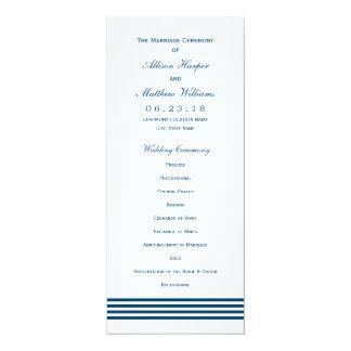 Wedding Ceremony Program   Navy Nautical Stripes