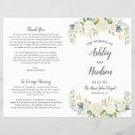 """Wedding Ceremony Program   Neutral Blooms<br><div class=""""desc"""">This stylish wedding ceremony design features an elegant floral watercolor design on the front cover with painted roses, ranunculus flowers, and leaves in neutral shades of white, cream, gold, green, and dark gray / soft black. Personalize the wording on both sides. Note, these programs arrive flat and require folding down...</div>"""