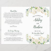 Wedding Ceremony Program | Neutral Blooms