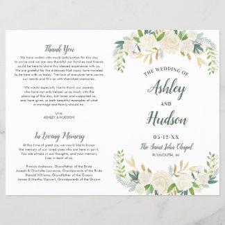 Wedding Ceremony Program   Neutral Blooms