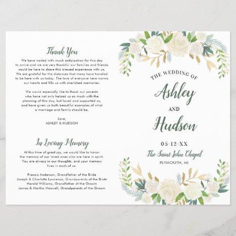 Wedding Ceremony Program | Neutral Blooms