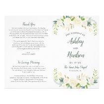 Wedding Ceremony Program | Neutral Blooms Flyer
