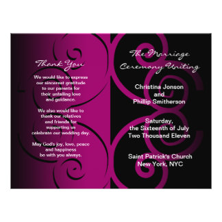 Wedding Ceremony Program Pink Butterfly Curve Flyer