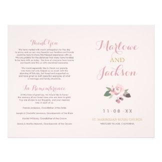 Wedding Ceremony Program | Pink Peony Flower Flyer