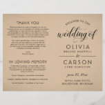 """Wedding Ceremony Program   Rustic Kraft<br><div class=""""desc"""">Classic chic wedding ceremony program sheet design features stylish black typography, custom text that can be personalized for your bridal party, ceremony information, and thank you message . The rustic kraft brown printed background can be removed and replaced with another background color. Note: these text weight paper programs arrive flat...</div>"""