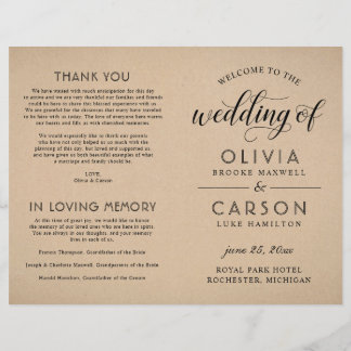 Wedding Ceremony Program | Rustic Kraft