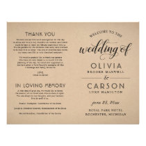 Wedding Ceremony Program | Rustic Kraft Flyer