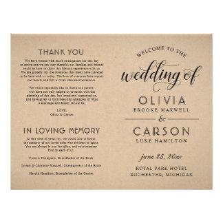 Wedding Ceremony Program | Rustic Kraft Flyer