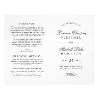 Wedding Ceremony Programs | Black Classic Elegance Flyer