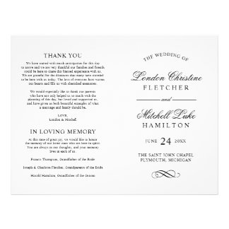 Wedding Ceremony Programs | Black Classic Elegance Flyer