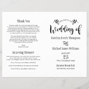 ceremony wedding programs zazzle