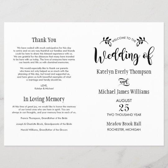 wedding ceremony programs black script zazzle com