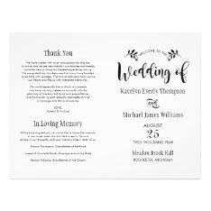 Wedding Ceremony Programs | Black Script Flyer at Zazzle