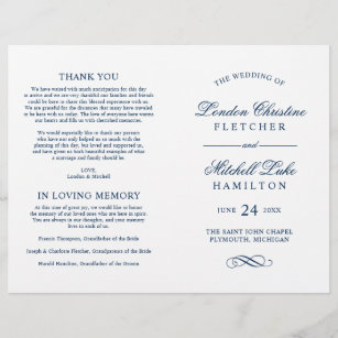 Wedding Ceremony Programs.Wedding Ceremony Programs Navy Classic Elegance