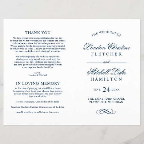 Wedding Ceremony Programs | Navy Classic Elegance