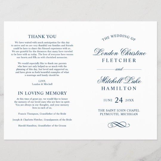 wedding ceremony programs navy classic elegance zazzle com