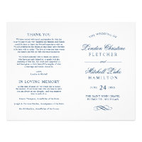 Wedding Ceremony Programs | Navy Classic Elegance Flyer