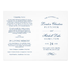 Wedding Ceremony Programs | Navy Classic Elegance Flyer at Zazzle