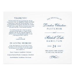 Wedding Ceremony Programs | Navy Classic Elegance Flyer