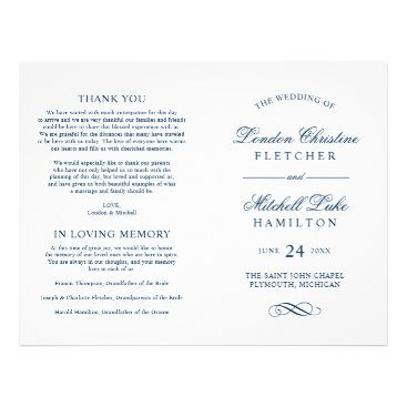 Plush_Paper Wedding Ceremony Programs | Navy Classic Elegance Flyer