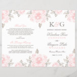 """Wedding Ceremony Programs   Pink Watercolor Roses<br><div class=""""desc"""">Elegant and romantic sheet program design features a monogram of the bride and groom names, blush and pewter gray marriage ceremony information framed by a border of soft pink roses with green / gray leaves. Flowers have a beautiful watercolor painted appearance. Note: these text weight paper programs arrive flat and...</div>"""