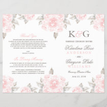 Wedding Ceremony Programs | Pink Watercolor Roses