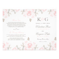 Wedding Ceremony Programs | Pink Watercolor Roses Flyer