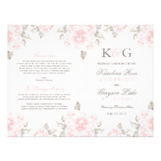 Wedding Ceremony Programs | Pink Watercolor Roses Flyer at Zazzle