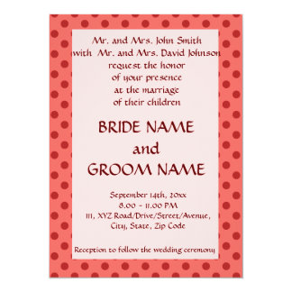 Wedding Ceremony - Red Polka Dots, Pink Background Card