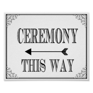 Wedding Ceremony way sign vintage chalkboard Poster