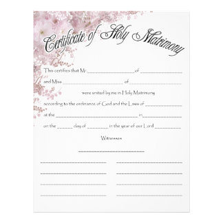 Wedding Certifficate Letterhead