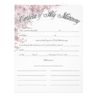 Wedding Certifficate Customized Letterhead