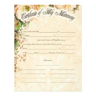 Wedding Certificate Letterhead