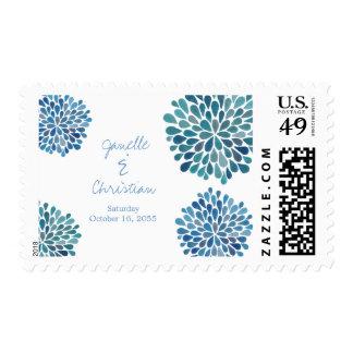Wedding Cerulean Blue Flower Blooms Petals Stamp