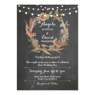 Wedding Chalk Fall in Love Wreath Party Invitation