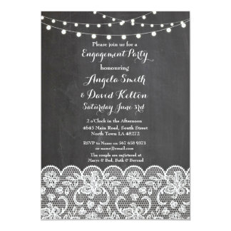 Wedding Chalk String Lights Lace Engagement Invite