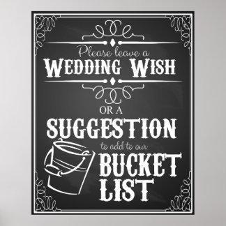"Wedding chalkboard ""Wish list""  bucket list sign Poster"