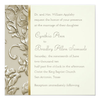 Wedding Champagne Embossed Look Damask Card