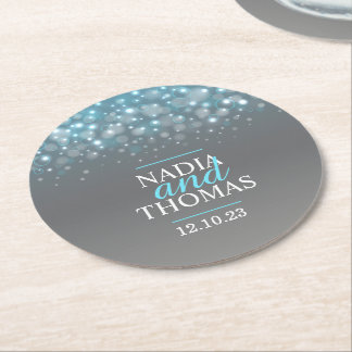 Wedding champagne grey blue paper coasters