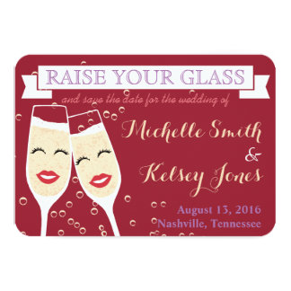 Wedding Champagne Save the Date Card