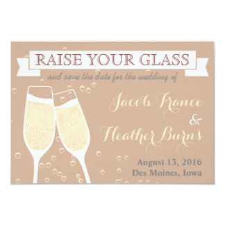 Wedding Champagne Save the Date 3.5x5 Paper Invitation Card