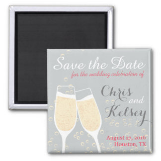 Wedding Champagne Save the Date Refrigerator Magnet