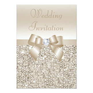 Wedding Champagne Sequins, Bow & Diamond 5x7 Paper Invitation Card