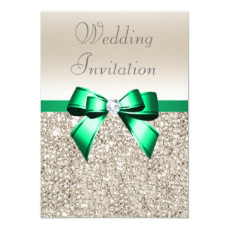 Wedding Champagne Sequins Shamrock Green Bow Card