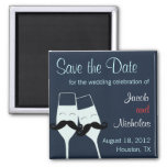 Wedding Champagne Toast Save the Date 2 Inch Square Magnet