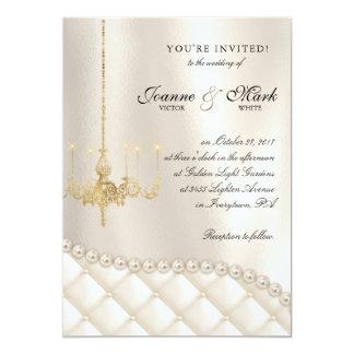Wedding Chandelier Lighting Ivory Pearls Satin Card