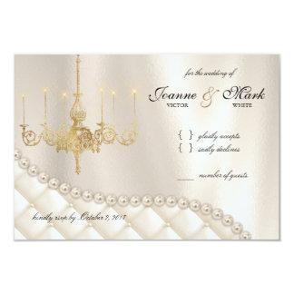 Wedding Chandelier RSVP Card Lighting Ivory Pearls