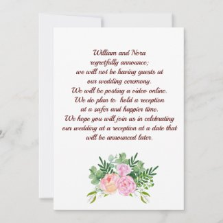 Wedding Change of Plans, With Pink Rose Peony Announcement