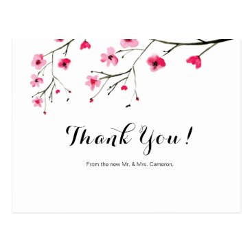 Wedding cherry blossom watercolor thank you postcard